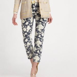 Tory Burch Floral Alexa Cropped Skinny Jeans